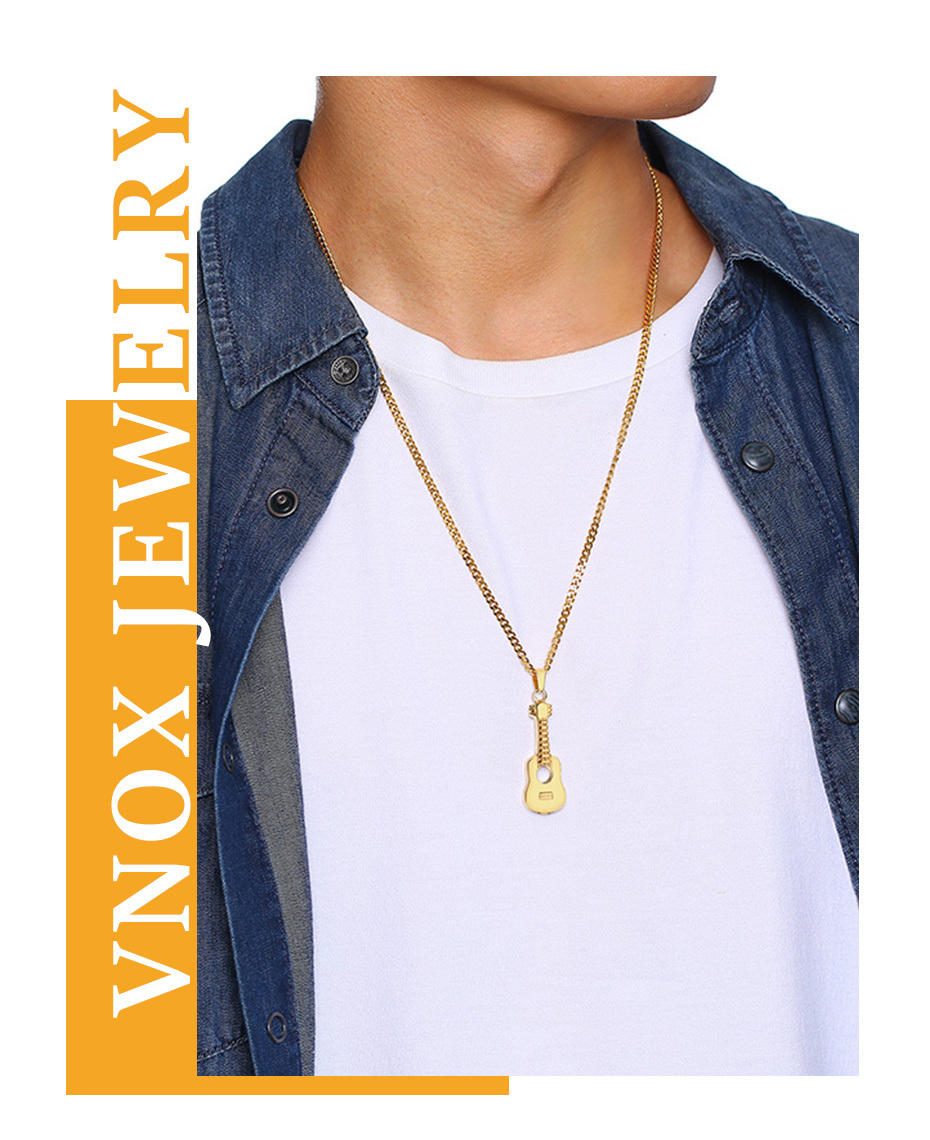 Vnox Guitar Necklaces Music Jewelry Stainless Steel