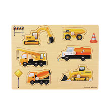 Kids Early Educational Toys Baby Construction Vehicle Wooden Puzzle Toy Alphabet Digit Learning Wood Jigsaw Toys For Children(China)