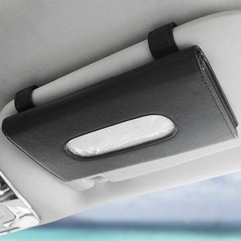 1 Pcs Car Tissue Box Towel Sets Car Sun Visor Tissue Box Holder Auto Interior Storage Decoration for BMW Car Accessories - Black 1 Pcs