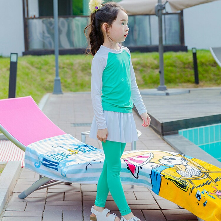 Children Diving Suit Bathing Suit Girls Split Type Sun-resistant Long Sleeve Trousers Skirt Hot Springs Waterproof Mother Swimwe