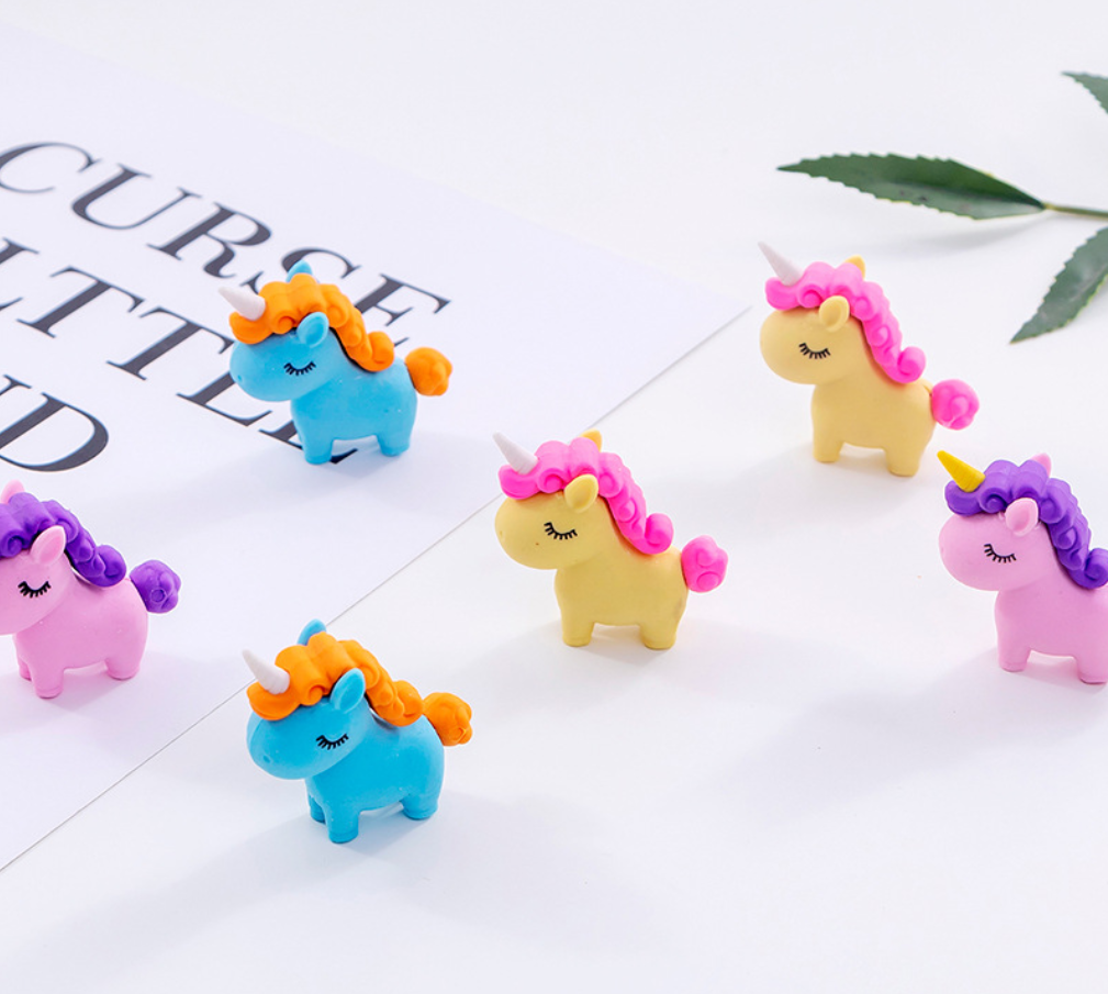 2pcs Cute Unicorn Pony Horse Eraser Set Kawaii Rubber Erasers Primary Student Prizes Promotional Gift Stationery School Supplies
