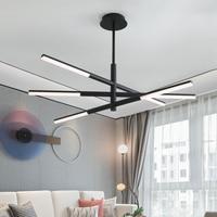 YOOGEE Kronleuchter Beleuchtung Luxus Schwarz Hängen Metall Streifen Leuchten Lobby Lampe Dimmbare Schnur wohnzimmer Lichter|Kronleuchter|Licht & Beleuchtung -