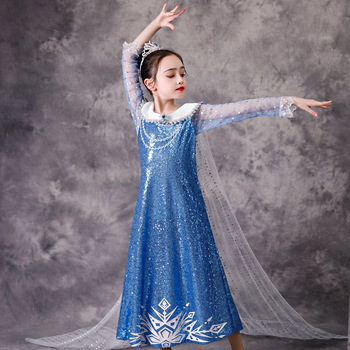 New Girls Castle Princess Elsa Sky Blue Diamond Sparkling Squined Fancy Dress With Long Cape Fantasy Halloween Party Costume