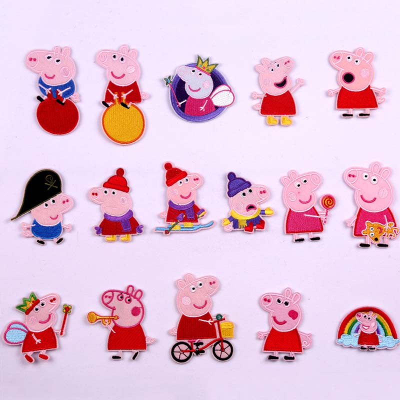 7CM New Peppa Pig Embroidery Cartoon Anime Figures George Cloth Patch Clothing Accessories Kid Birthday Toys Gift