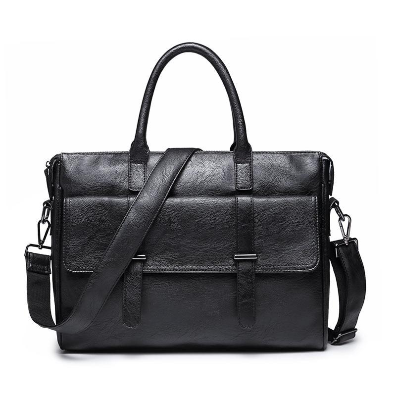 2019 Business Men Briefcase Messenger Bags Vintage Leather Shoulder Bag For Male Brand Casual Man Laptop Handbags Travel Bags