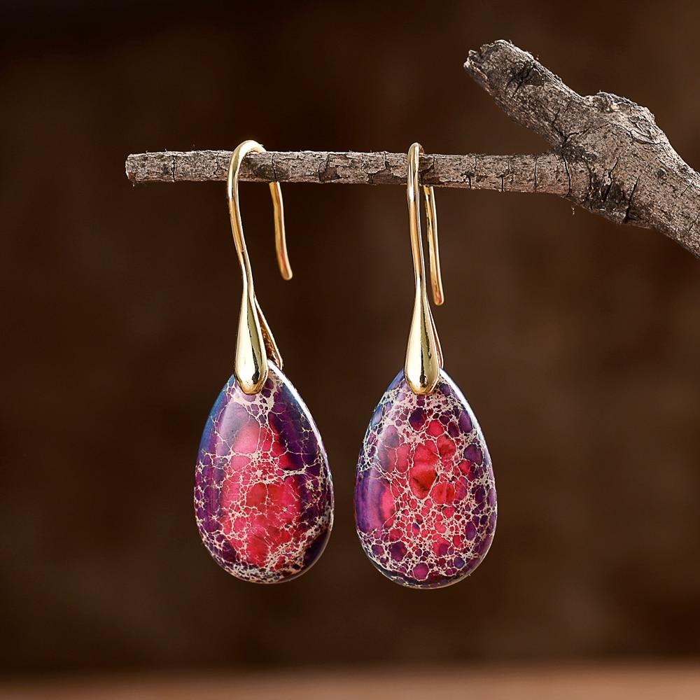 Оптовая продажа натуральный камень серьги для женщин розового цвета модные серьги в форме капель серьги в стиле бохо, ювелирное изделие, по...