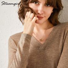 Женский кашемировый свитер streamgirl вязаный пуловер с v образным