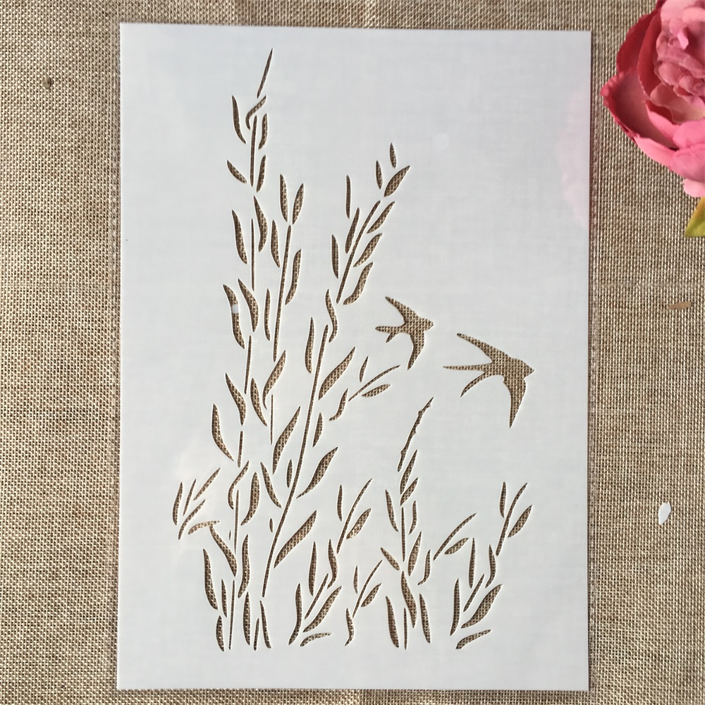 29cm A4 Swallow Grass DIY Layering Stencils Wall Painting Scrapbook Coloring Embossing Album Decorative Template