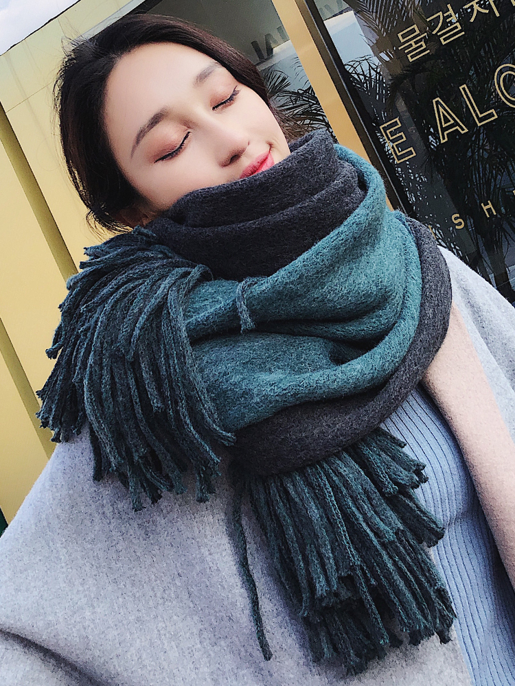 Brand Women Scarf Female Winter Korean Student Double Side Versatile Thickened Warm Shawl Long Wool Knitting Bib Fashion Scarves