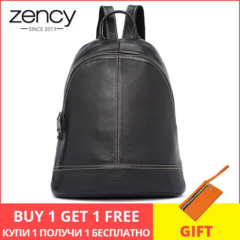 Zency 100% en cuir véritable mode femmes sac à dos Style Preppy cartable de fille noir vacances sac à dos dame décontracté sac de voyage
