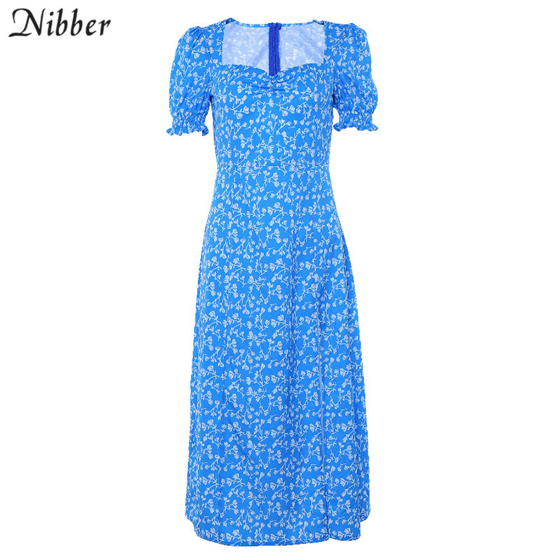 Nibber summer Long Maxi Dresses Women Casual Boho Floral Print low cut loose dresses 2019 Ruffles midi Beach Party dresses mujer in Dresses from Women 39 s Clothing