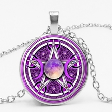 statement/Penta Star Necklace Glamour Purple Triple Moon Goddess Pendant Wicca Men and Women Clothing Accessories Sweater Chain triple moon