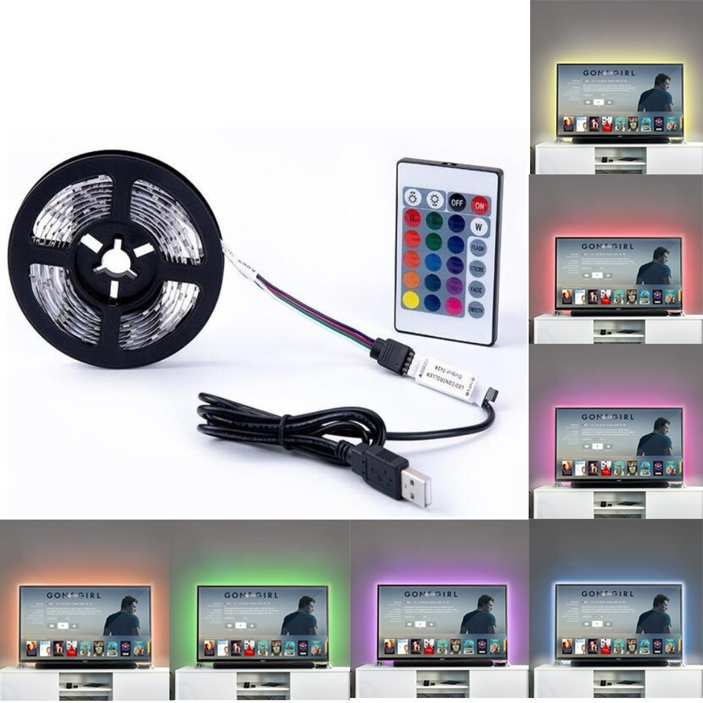 Usb Led Strip 5v Rgb Waem White White 0.5m 1m 2m 3m 5m Flexible Led Light Ribbon Diode Tape Backlight Television TV Lights
