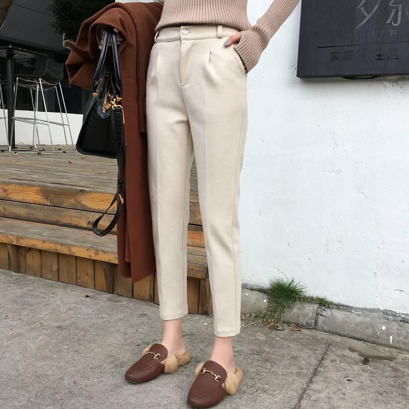 2019 Autumn Winter Harem Pants Women Korean Style High Waist Woolen Trousers Female Long Pants Pantalones Mujer Plus Size 3XL