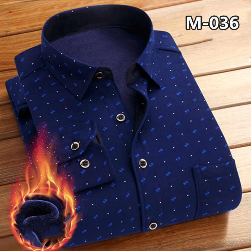 חדש אופנה גברים של החורף ארוך שרוול שמלת חולצה משובץ חם עבה קטיפה צמר חולצות לגברים רך פלנל Camisa masculina 4XL