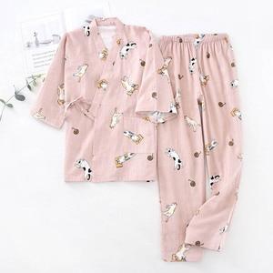 Image 3 - Ladies Spring And Fall New Pyjamas Set Cute Cartoon Kitten Printed Women Comfort Gauze Cotton Sleepwear Soft Thin Home wear