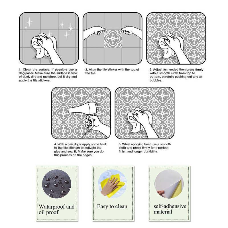 Marokko Retro Tegels Muurstickers Voor Badkamer Keuken Tegel Stickers Decor Adhesive Waterdichte Pvc Trap Taille Lijn 60X60cm Diy