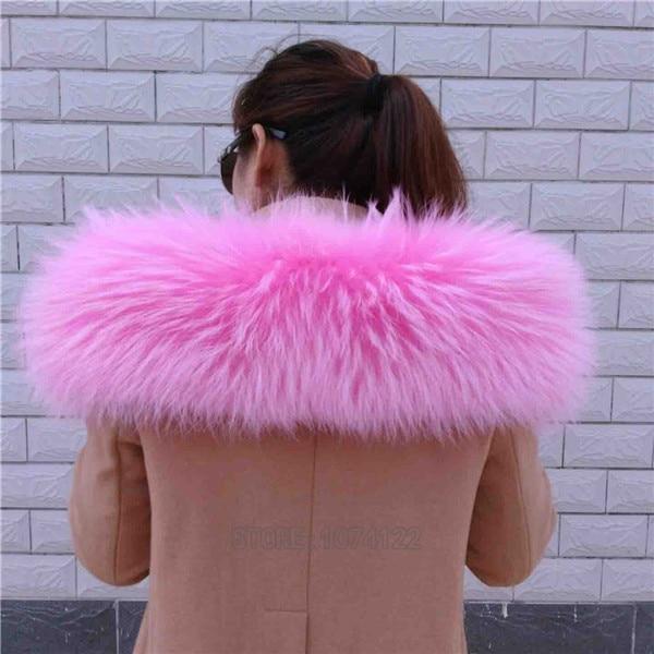 Женский шарф теплый подарок из меха енота ожерелья для куртки шарфы Banand Schal теплый натуральный зимний меховой шарф для женщин - Цвет: Pink