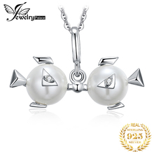 Zodiac Pisces Shell Pearl Pendant Necklace 925 Sterling Silver Choker Statement Women Jewelry Without Chain