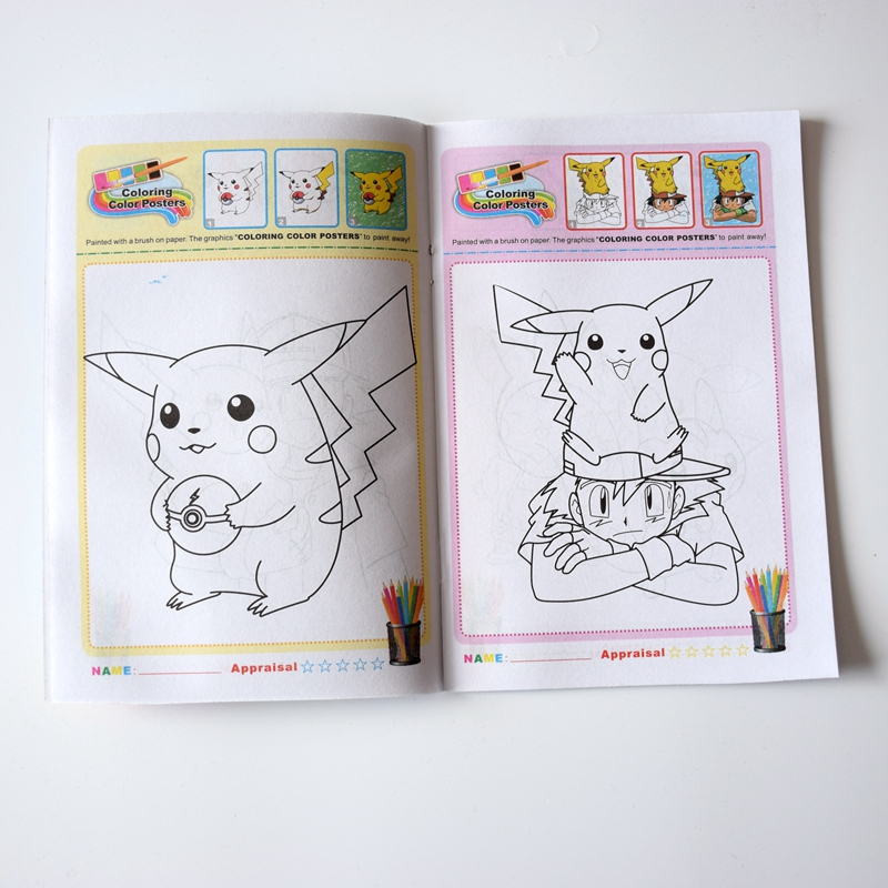 6PCS/LOT English ColouRing book & sticker Book Children cartoons Graph  color books 12 Types coloring book wholesale