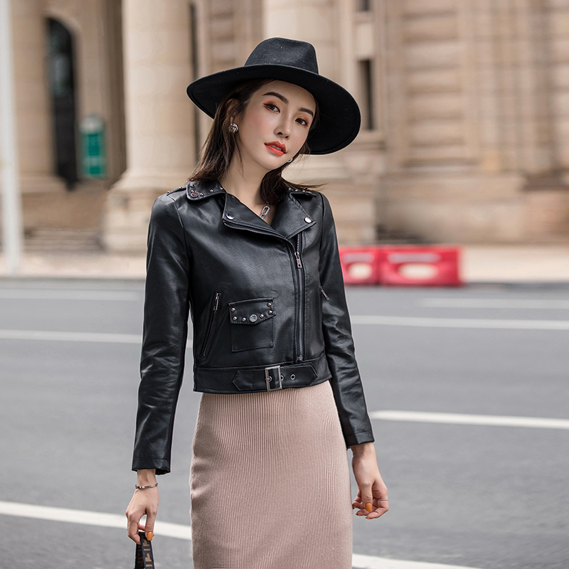 Women's   Leather   Short Jackets Autumn Black Cool Lady PU Faux   Leather   Motorcycle Jacket Streetwear Hip Hop Outwear High Quality