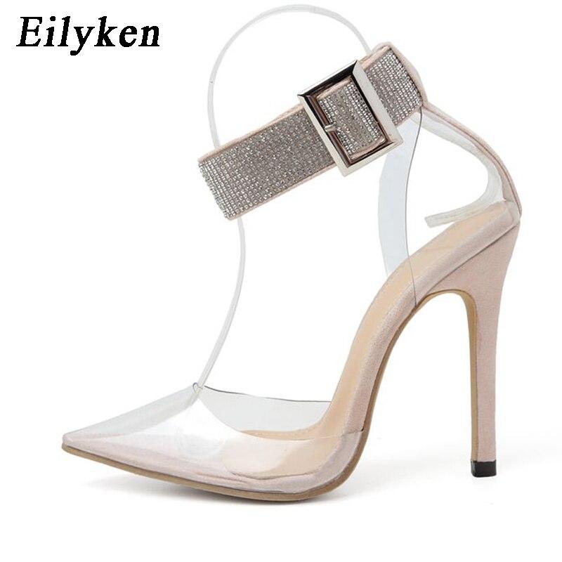 EilyKen/2020; Модные прозрачные женские туфли-лодочки из пвх; туфли-лодочки на высоком каблуке; женская обувь; классические женские босоножки с ос...