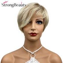Strongbeauty curto em linha reta peruca sintética perucas macias resistente ao calor do cabelo da senhora