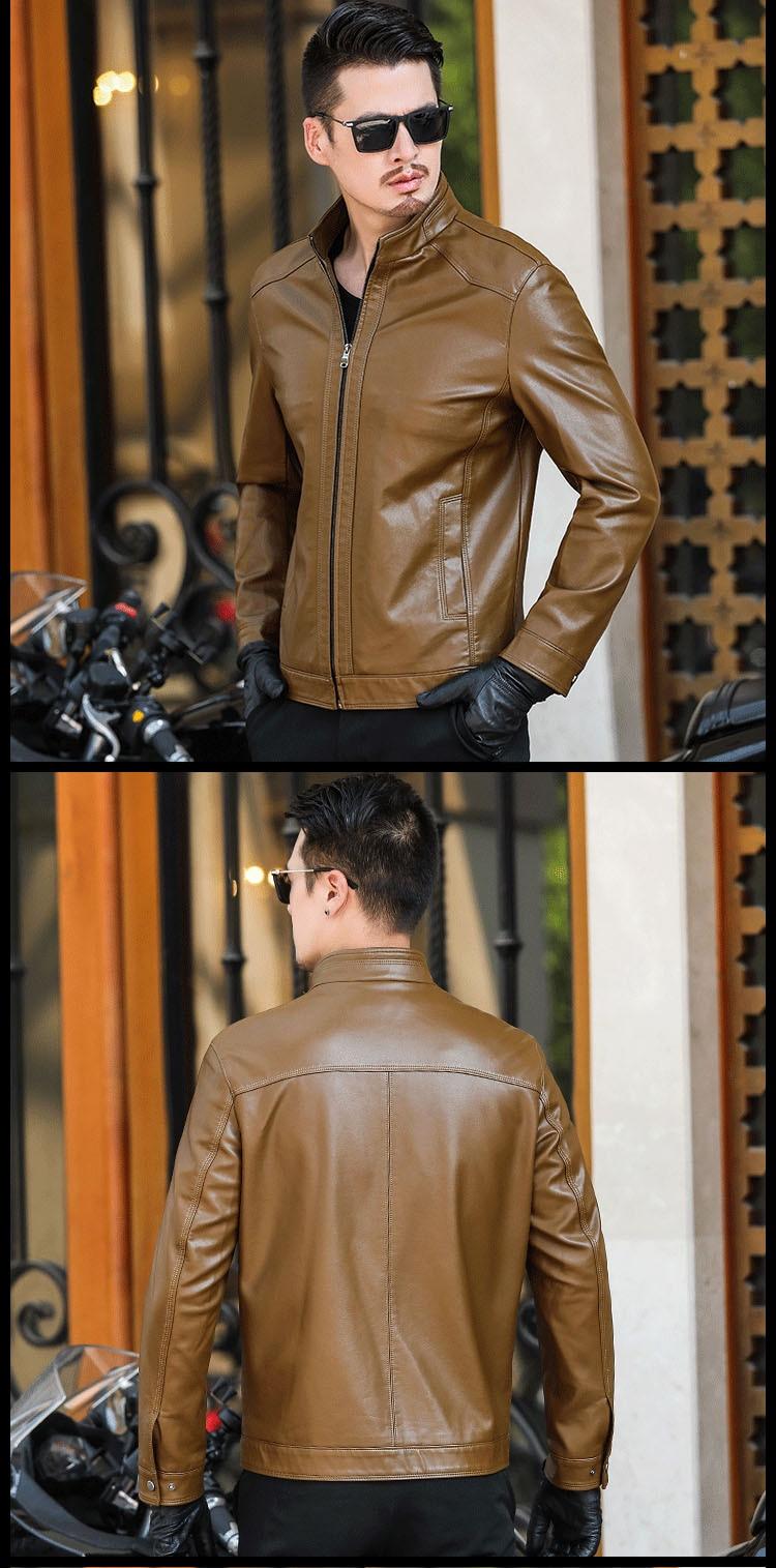 Haf43096e67124916a969465a3d01116el Plus size men genuine leather jacket 4XL 5XL 6XL 2020 spring and autumn zipper male sheepskin leather jacket father outwear P07