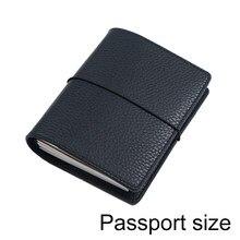 Caderno de couro genuíno recarregáveis viagem diário passaporte tamanho organizador com slots de cartão de couro diário sketchbook planejador