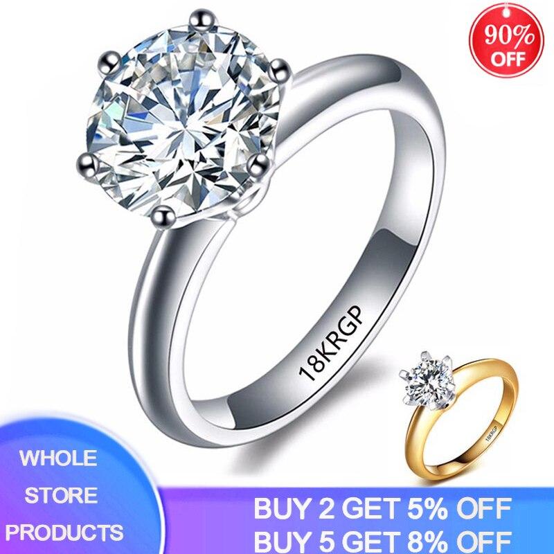 Yanhui 100% puro original ouro cheio anel moda jóias 2 quilates branco solitaire zircônia cúbica anéis de casamento para mulher hr1689