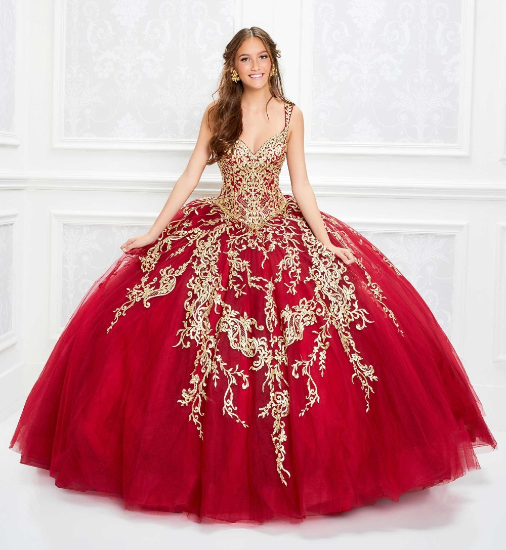 2020 Red Luxury Quinceanera Dresses Plunging Neck Gold Lace Embroidery Ball Gown Girls Pageant Dress Customized Sweet 16 Dresses