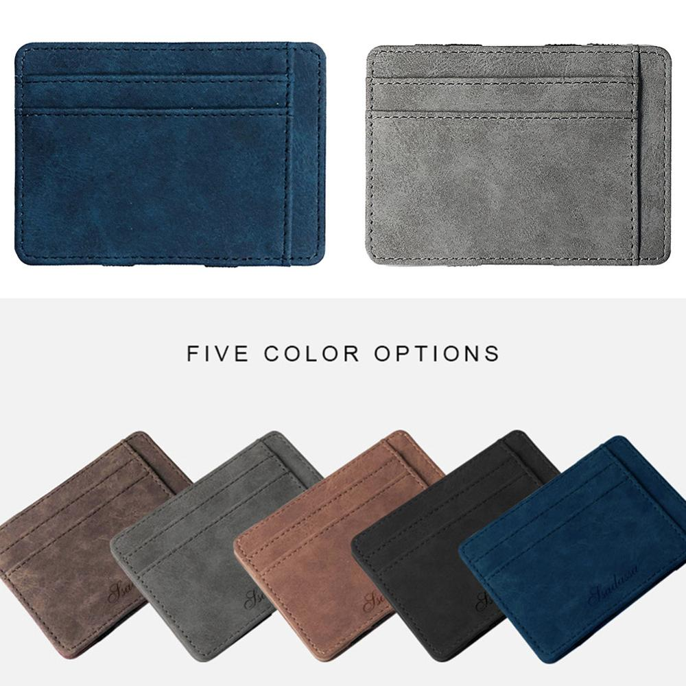 Ultra Thin Men Wallet Small PU Leather Mini Size Magic Band Solid Color Card Holder Zipper Coin Purse Credit Bank Card Case