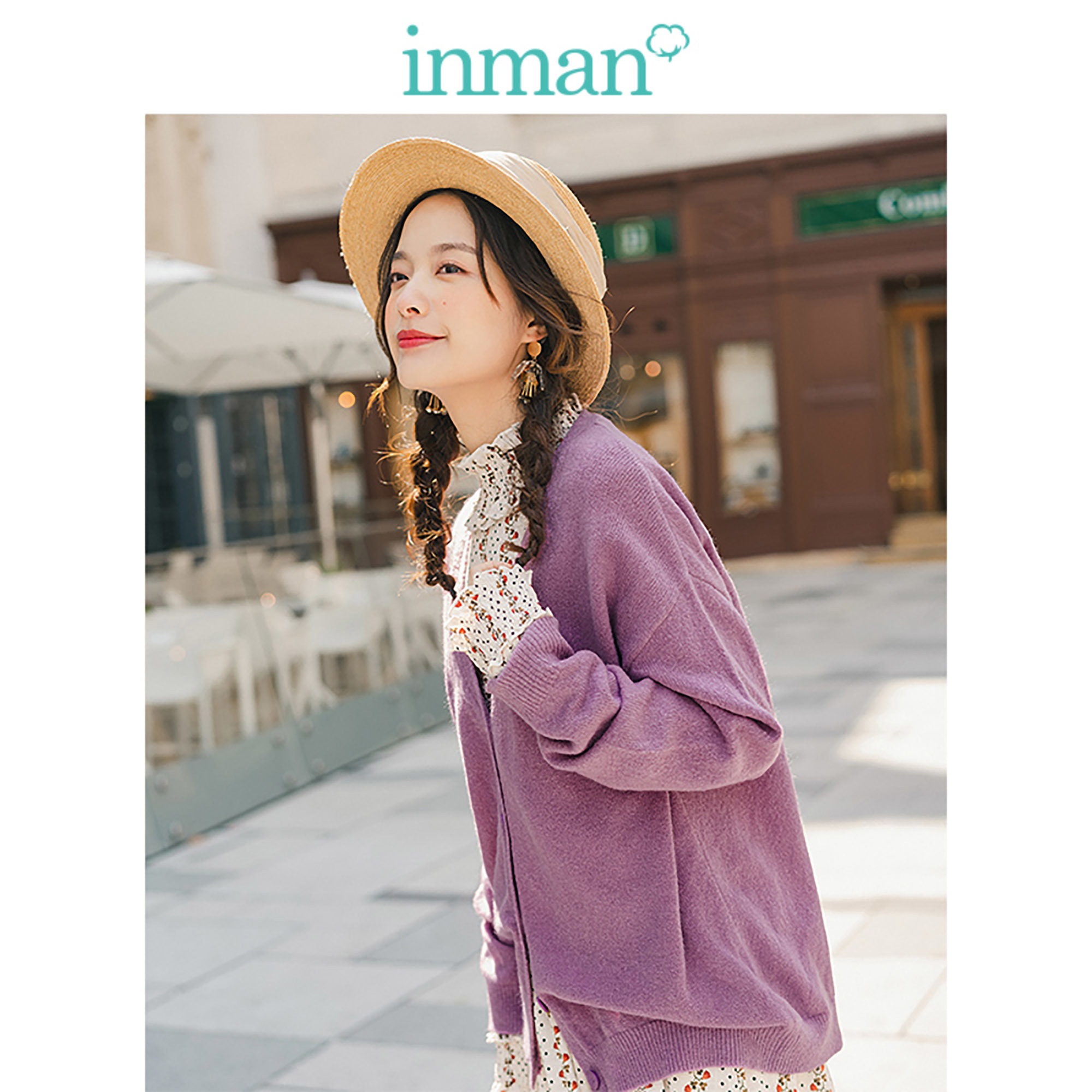 INMAN Spring Autumn V-neck Solid All Matched Elegant Literary Minimalism Women Cardigan