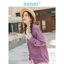 INMAN primavera otoño cuello pico sólido todo emparejado elegante literario minimalismo mujeres Cardigan