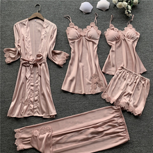 Women Pajamas 5 Pieces Satin Sleepwear Pijama Silk Home Wear Home Clothing Embroidery Sleep