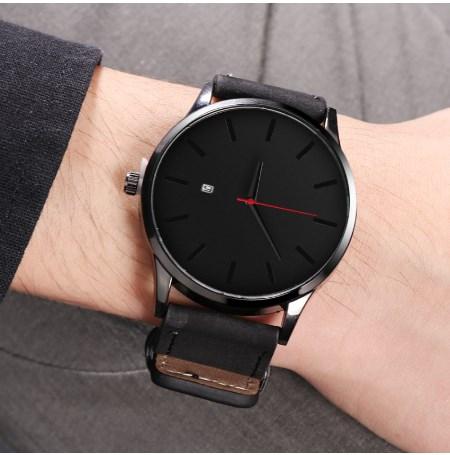 Relogio Masculino Men's Watch Complete Calendar Wristwatch Brown Leather Quartz Sport Watch Men Clock Gents Watches Reloj Hombre