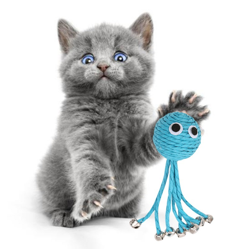 Blue Baby Octopus Woven By Paper Rope Scratch-resistant Pet Playing Toy With Bell  Grinding Cat Ball Interactive