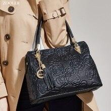 ZOOLER brand genuine leather bag female skin tote high quality floral embossed handbag ladies shoulder bolsa feminina 113