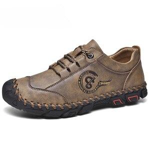 Image 1 - أحذية من الجلد حذاء رجالي جودة انقسام الجلود حذاء كاجوال الأخفاف حذاء رجالي جلد حجم 36 48