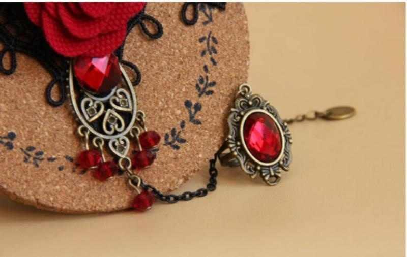 Ювелирные изделия с регулируемым пальцем Элегантный Готический стимпанк вампир Лолита черный кружевной розовый кристалл кисточкой браслет, соединенный с кольцом на пальце