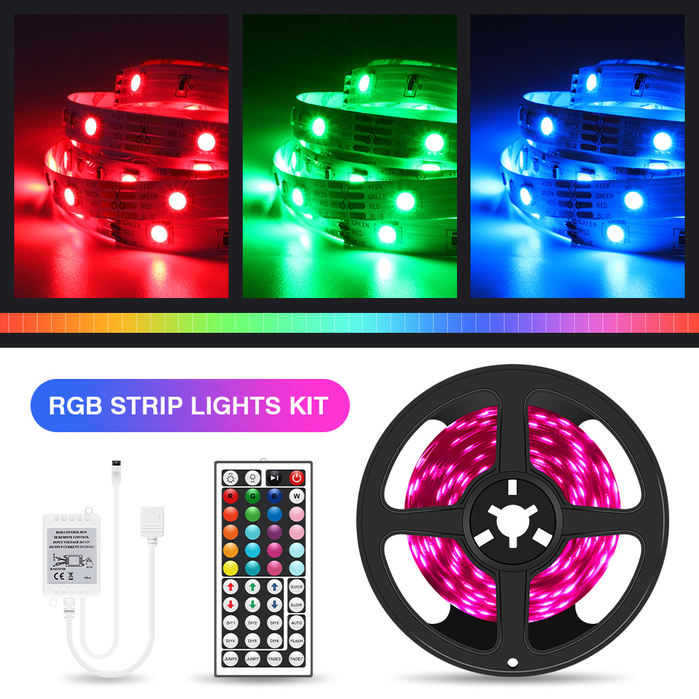Dropshipping RGB LED Strip Light 5M 10M 15M 20M 5050 Ribbon LED Tape With IR Controller For Home Christmas Lights
