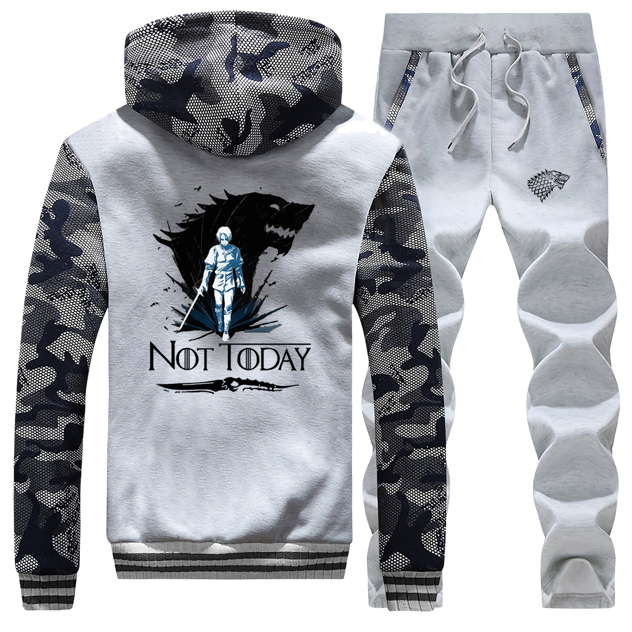 2019 Winter Thick Camo Set Men Game Of Thrones Tracksuit Not Today Arya Stark Pants Sweatshirts Warm Fleece Jackets New Male Set