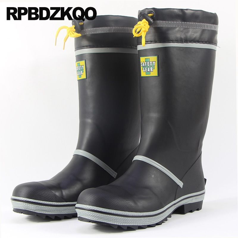 Shoes Rainboots Waterproof Steel Toe Pvc Fur Plus Size Durable Rain Tall Cheap Winter Rubber Fishing Boots Men Mid Calf Slip On image
