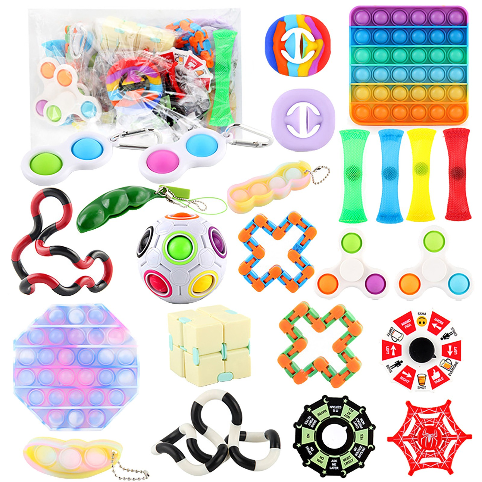Soothing Marble Fidgets+Luminous Sticky Wall Balls+Pressure Ball Stress Reliever Toy+Colorful Puzzle Sensory Fidget Toys Sensory Fidget Toys Set 12 Pack,Push pop pop Bubble Fidget