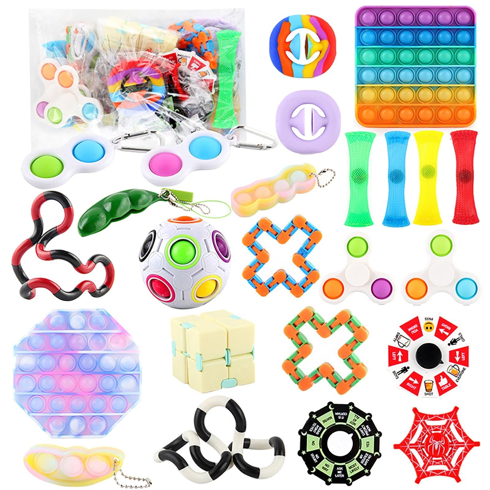 29/25Pcs Zappeln Spielzeug Set Günstige Sensorischen Zappeln Spielzeug Pack für Kinder oder Erwachsene Dekompression Spielzeug fidjets spielzeug pack антистресс