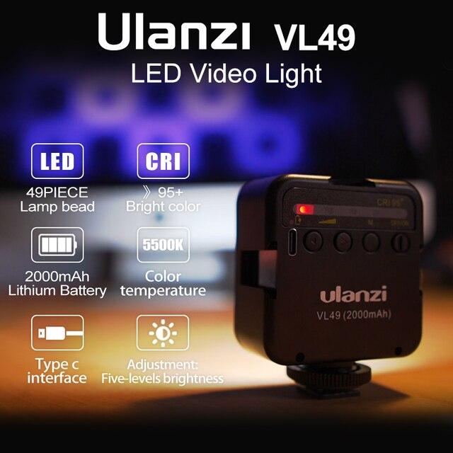 Ulanzi VL49 6W Mini LED Video Office Light 2000mAh 5500K Zoom Lighting Photographic Lighting U Bright Vlog Fill Light 2