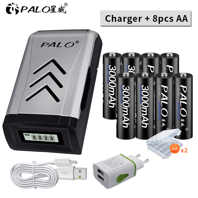 PALO 8 шт. 3000 мАч Ni-MH 1,2 в AA перезаряжаемые батареи aa батарея аккумуляторная батарея с ЖК-дисплеем смарт-зарядное устройство