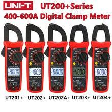 UNI-T ut201 mais ut202 mais ut202a + ut203 + ut204 + 400-600a digital braçadeira medidor de alta precisão inteligente anti queima verdadeiro rms