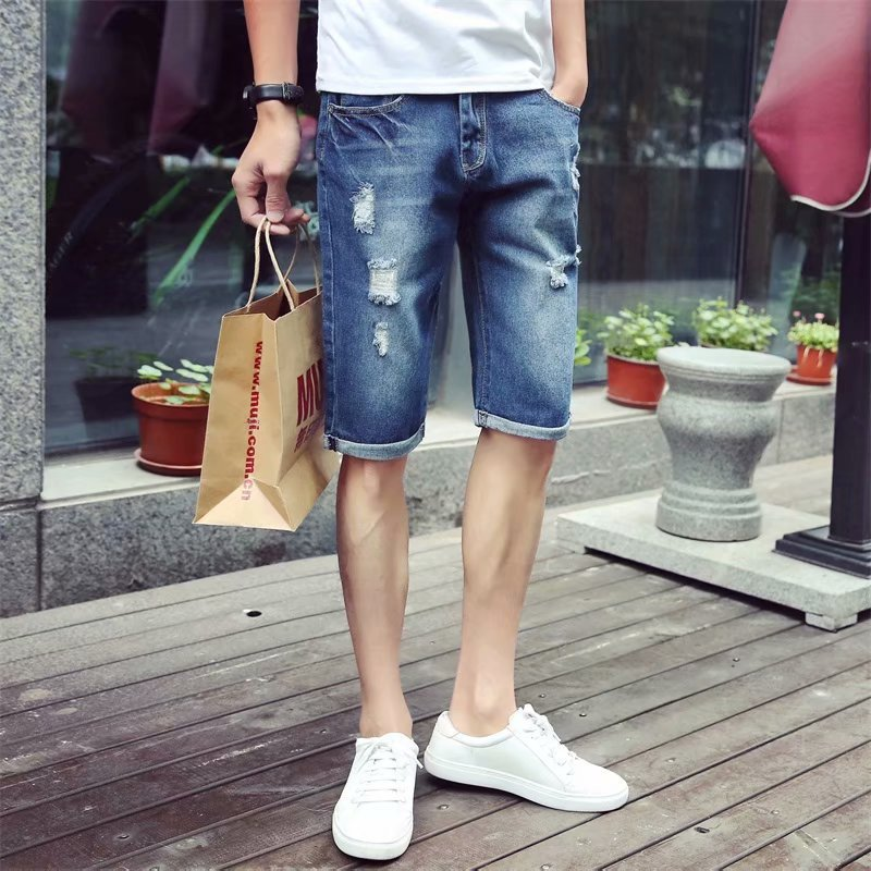 2019 Thin With Holes Denim Shorts Male Fifth Pants Korean-style Trend Jeans Men's Slim Fit Men's Middle Pants Summer