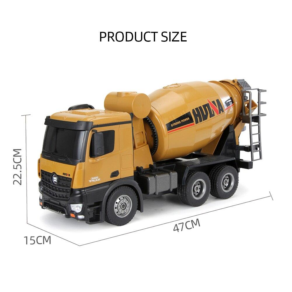 HUINA 1574 1:14 Liga Caminhão do Misturador Concreto Caminhão Engenharia de Controle Remoto Luz Veículo de Construção de Brinquedos para Crianças Presente - 2